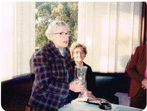 Miss Martha Cunningham First Honorary President 1984 Mrs Isabel Rae, Chairman, seated in background